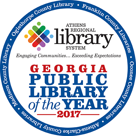 The Athens Regional Library System logo with Georgia Public Library of the Year, 2017.