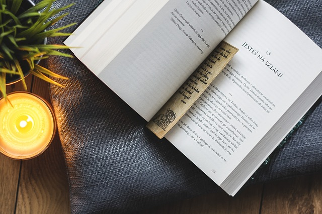 Photo of a book with a bookmark