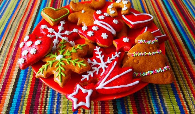 Photo of a plate of festive cookies.