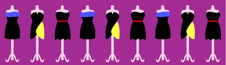 Image of a row of prom dresses