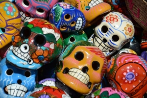 Photo of decorated plastic skulls