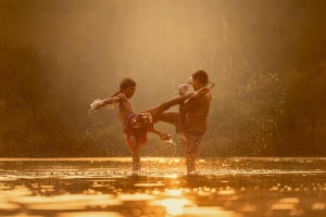 Picture of two kids doing martial arts
