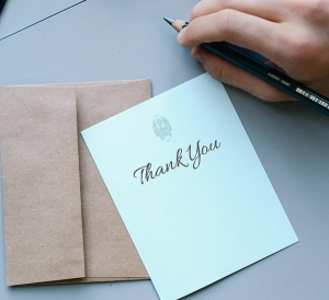 Picture of a card with Thank You written on it
