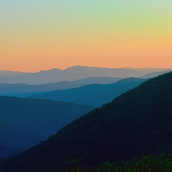 Photo of a sunset in the Appalachian mountains.
