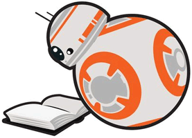 Image of BB-8 reading a book.