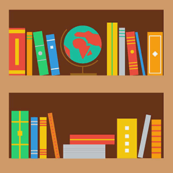 Image of books and a globe.
