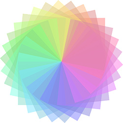 Image of a rainbow color wheel.