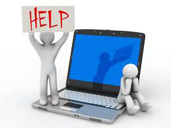 Image of figures on a computer asking for help