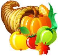 Image of a cornucopia filled with fruit and vegetables.