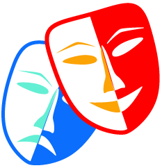 Image of drama and comedy masks.
