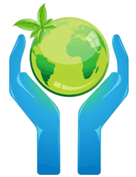 Image of two hands holding Earth.