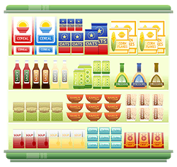 Image of shelves filled with food.