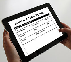 Image of a digital job application.