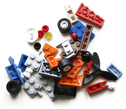 Photo of a variety of Lego blocks.
