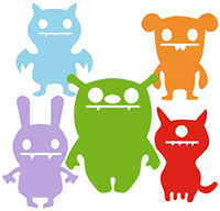 Image of different colored monsters