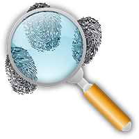 Image of a magnifying glass and fingerprints.