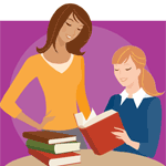 Image of a mother and daughter reading