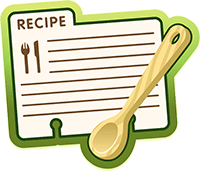 Image of a recipe card and a spoon
