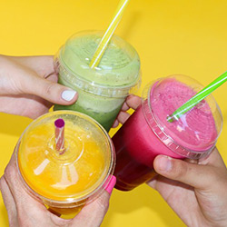 Image of three fruit smoothies.
