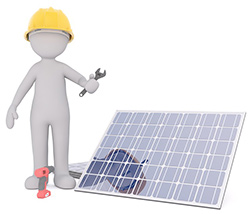 Image of an engineer installing a solar panel.