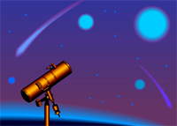 Image of a telescope and the night sky.