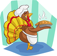 Image of turkey with a fresh-baked pie.
