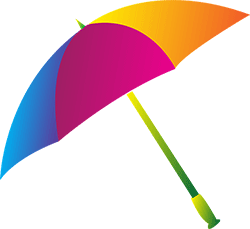 Image of a colorful umbrella.