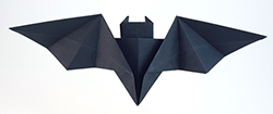 Photo of an origami bat.
