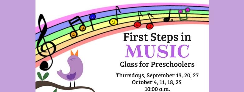 bird and notes banner for first steps in music class