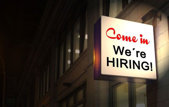 Image of a We're Hiring sign