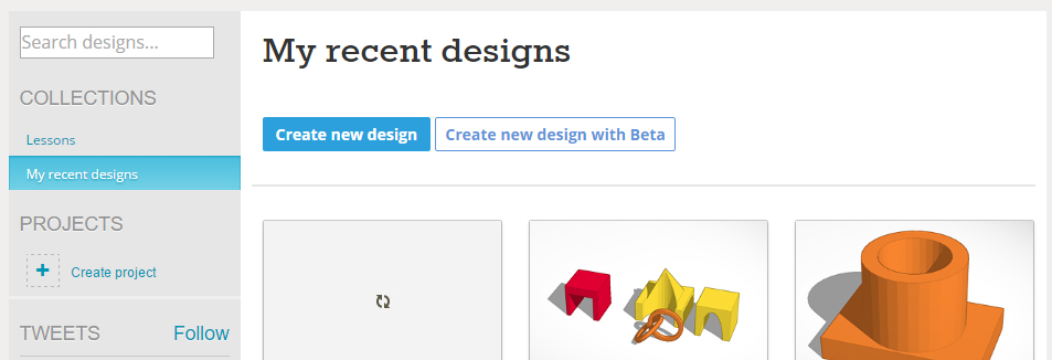 Screenshot of the Create New Design button from Tinkercad