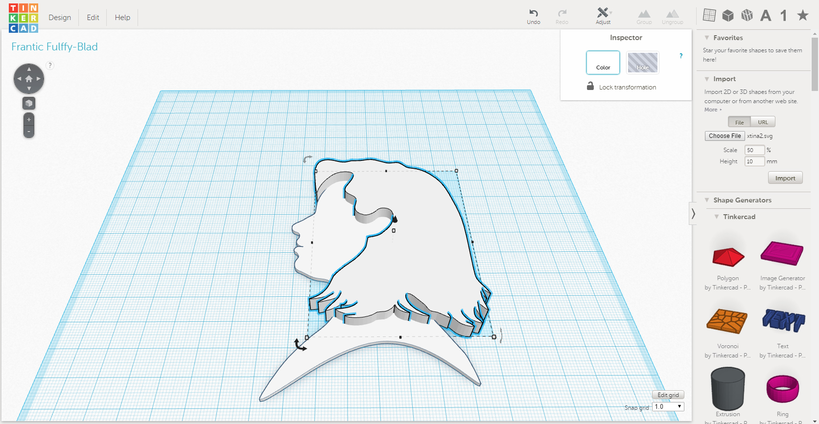 Screenshot of the hair arranged with the face shape in Tinkercad.
