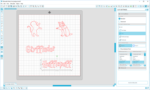 Screenshot of the design in the Silhouette Studio software.