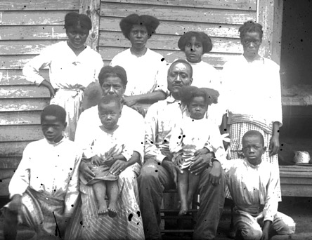 Photo of an African American family developed from a dry plate negative in the ACCL Heritage Room collection.