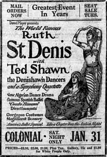 An advertisement for modern American dance pioneer Ruth St. Denis