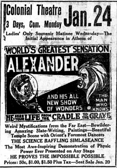A clipping showing an advertisement for noted mentalist Alexander