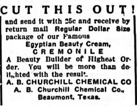 A clipping from a 1919 issue of the Athens Banner advertising the skin cream Cremonile
