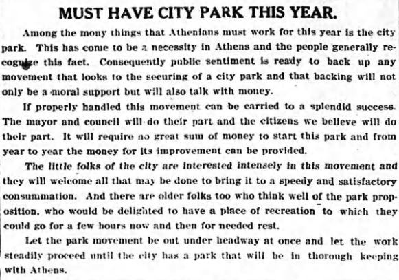 A clipping from a 1910 issue of the Banner-Herald discussing the need for a public park in Athens