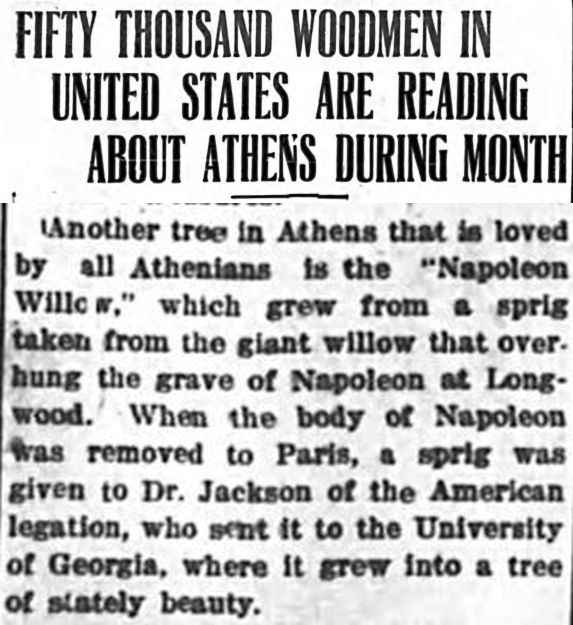 Clipping from a March 26, 1915 edition of the Weekly Banner describes a visit of the Woodmen of the World to the town of Athens, Ga.