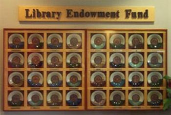 A photo of the Library Endowment Fund Display.